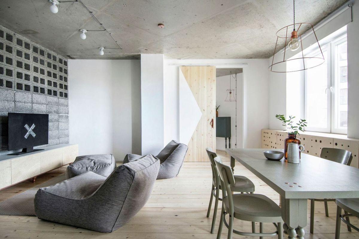 eclectic apartment in St. Petersburg sliding door to bedroom