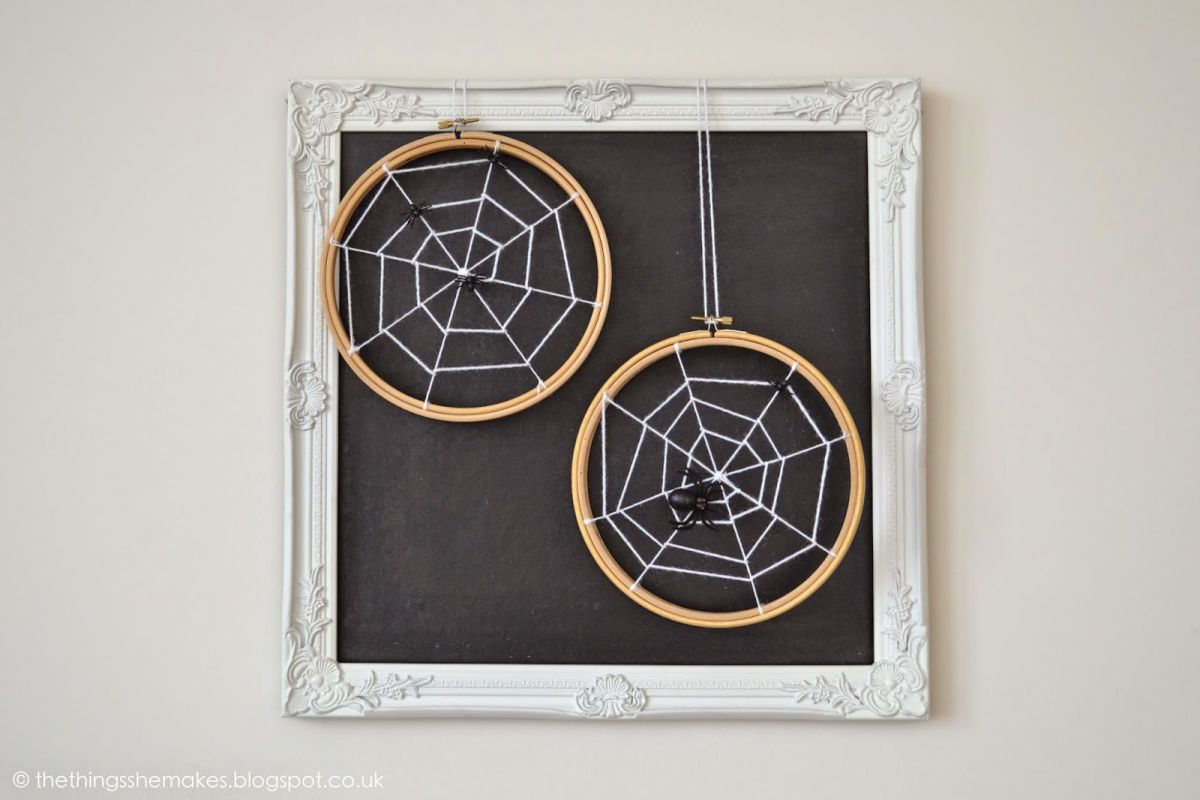 embroidery hoop spider web