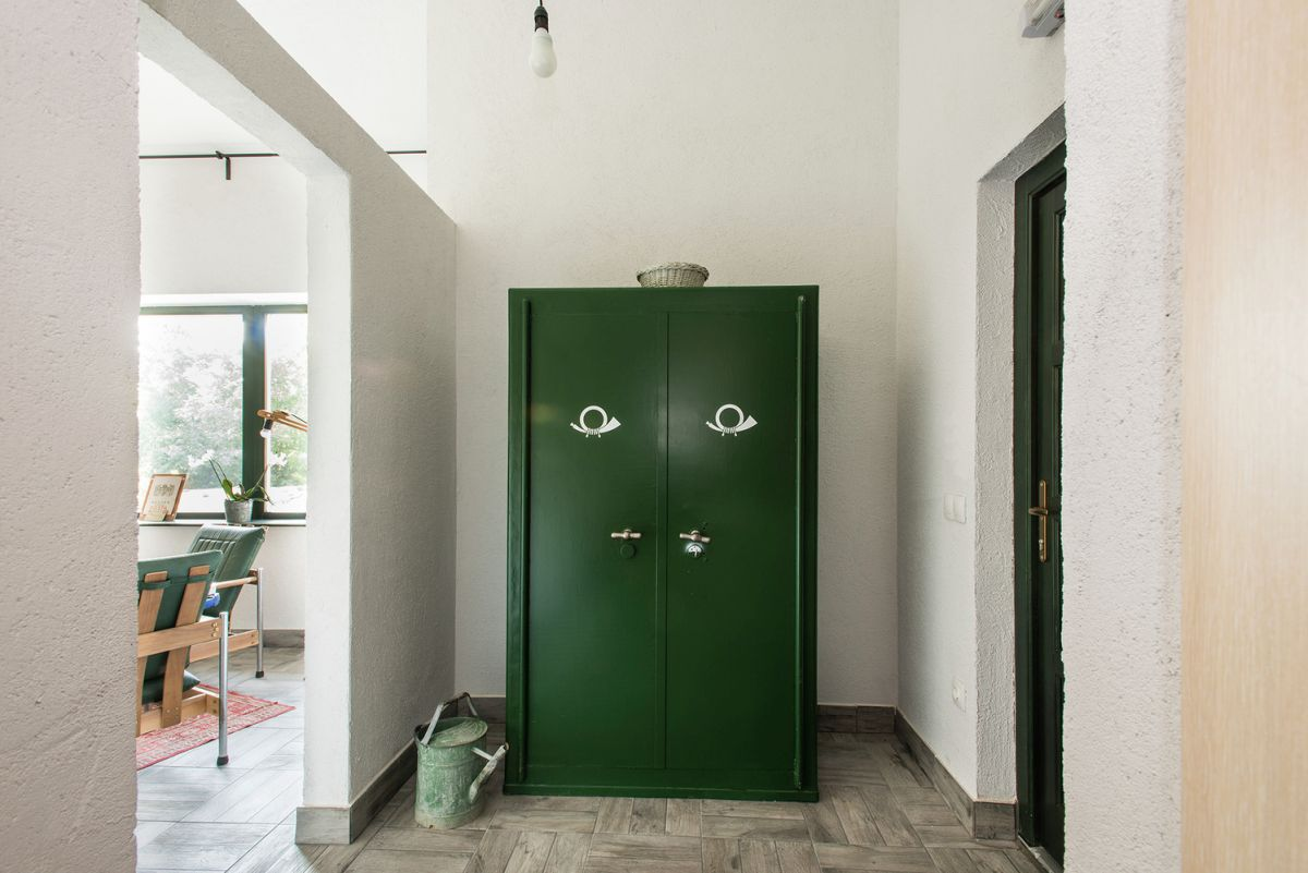 entryway dark green locker