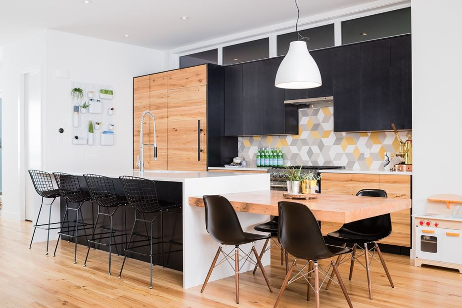 Kitchen Island Extension With Black Mid Century Chairs