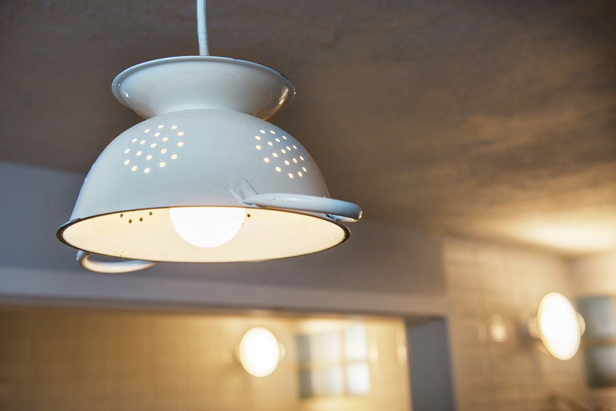 strainer pendant light in the kitchen