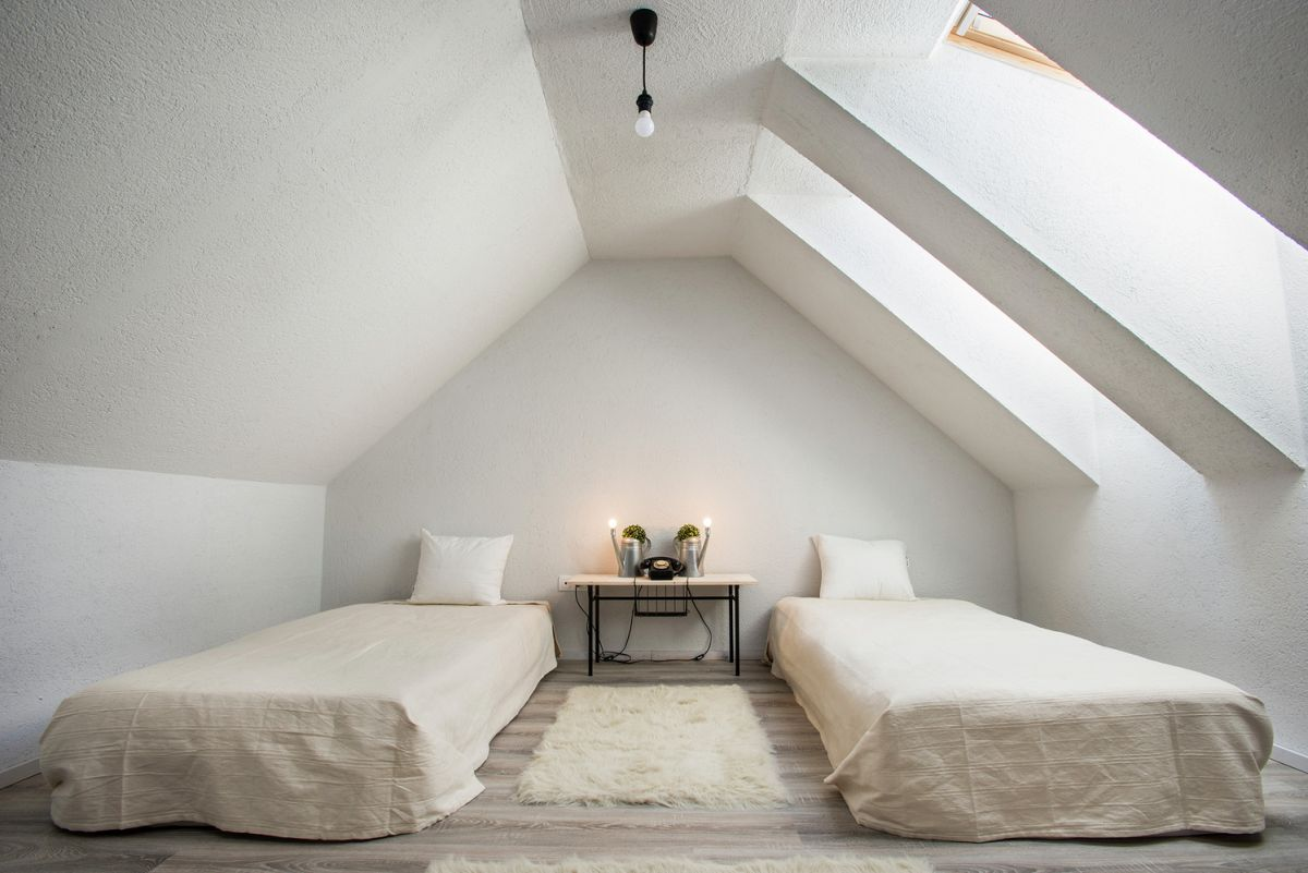two single beds in the attic