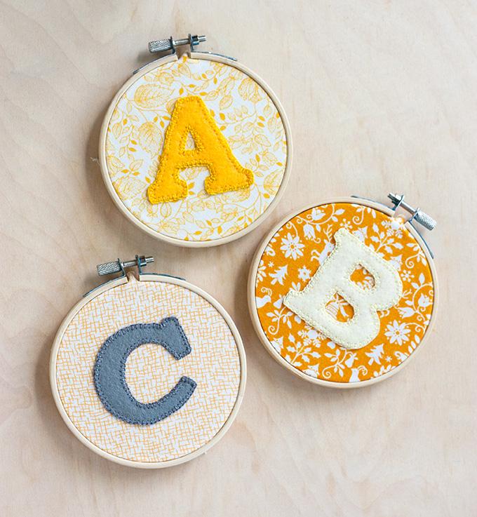Alphabet hoop art