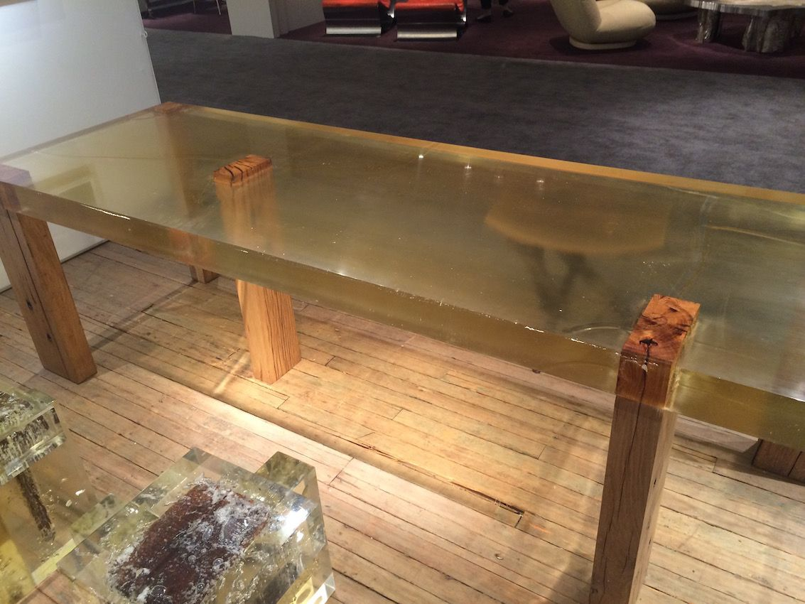 Wood Fossil Table 01, from 2013, highlights the wooden legs with a purely resin table top.