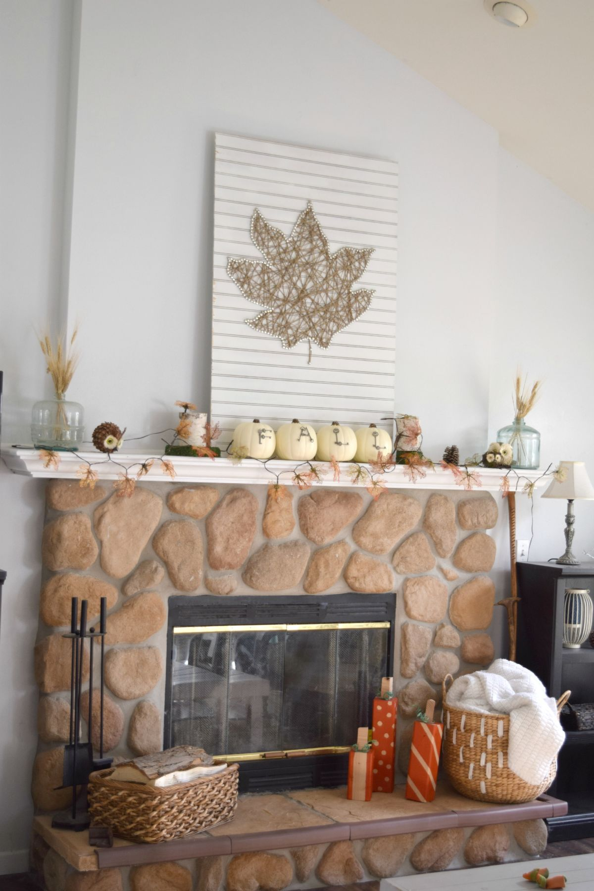 Angle view mantel decor