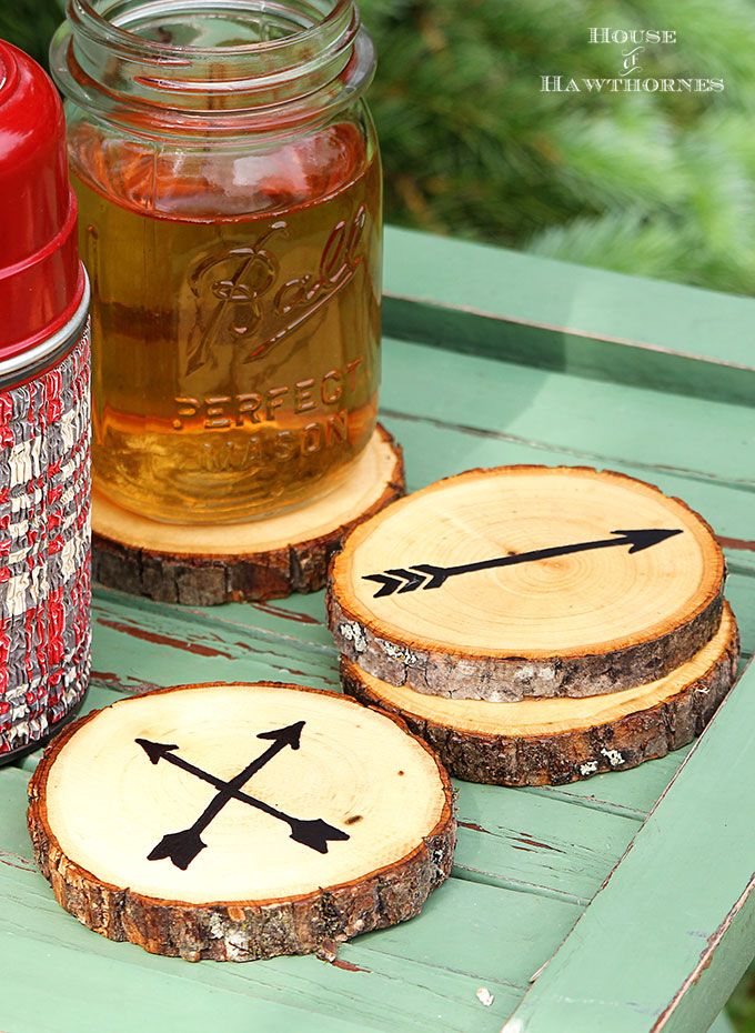 Arrow wood slice coasters