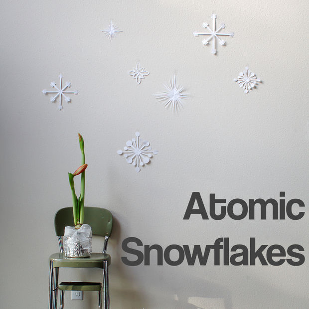 Atomic snowflakes on wall