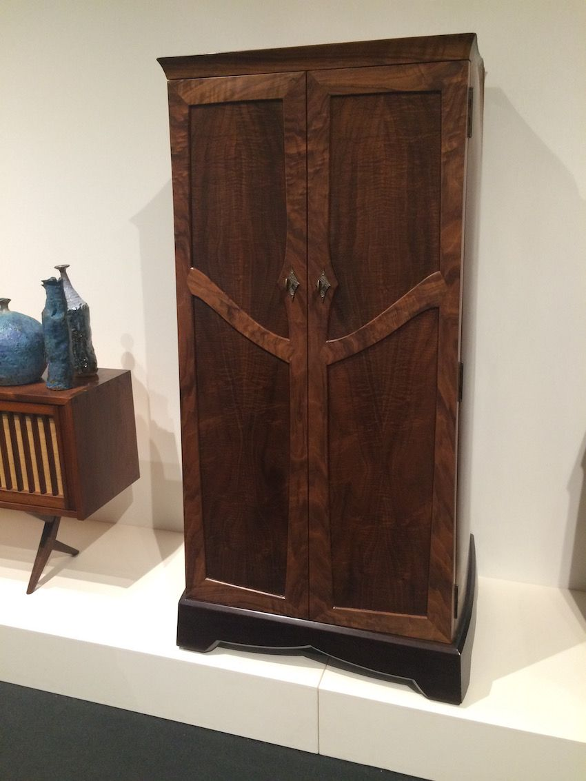 "Bar Cabinet 2015 by Master woodworker David Exner. He calls his works ""the antiques of the future."""
