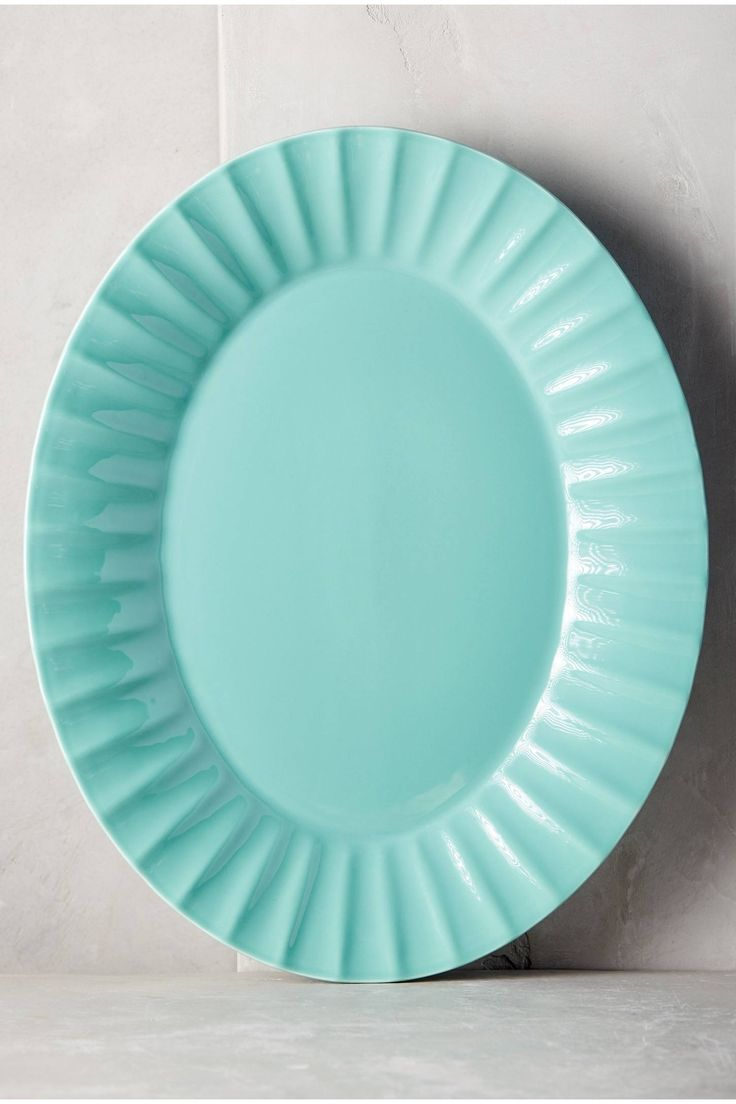 Blue wavy edge platter