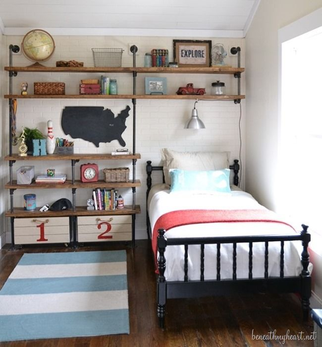 Boys room industrial shelves