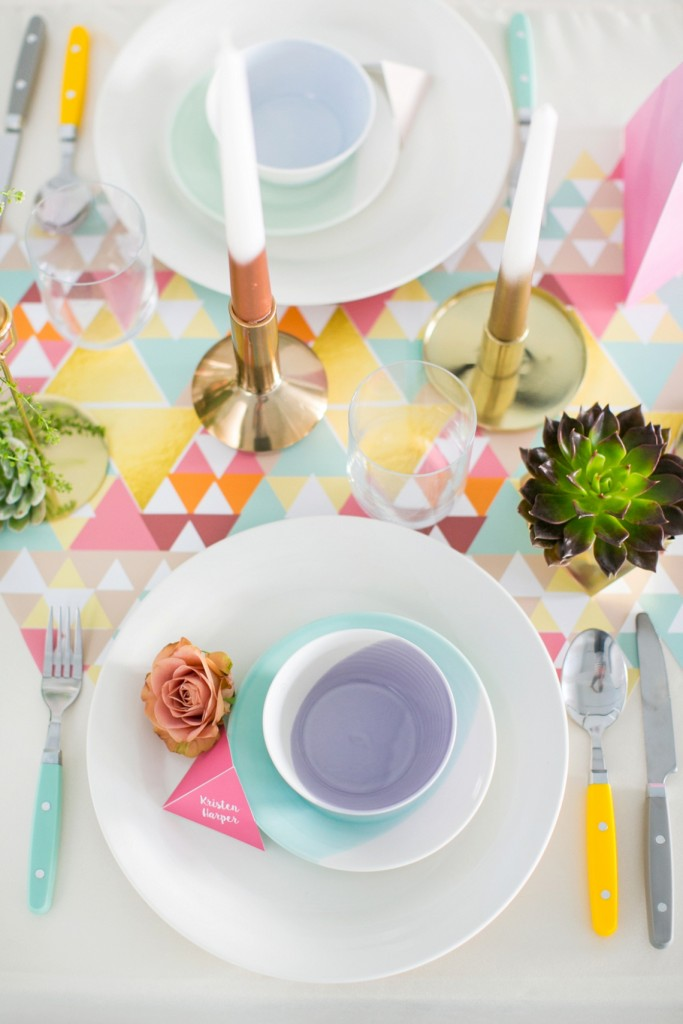 Bright tea party table setting