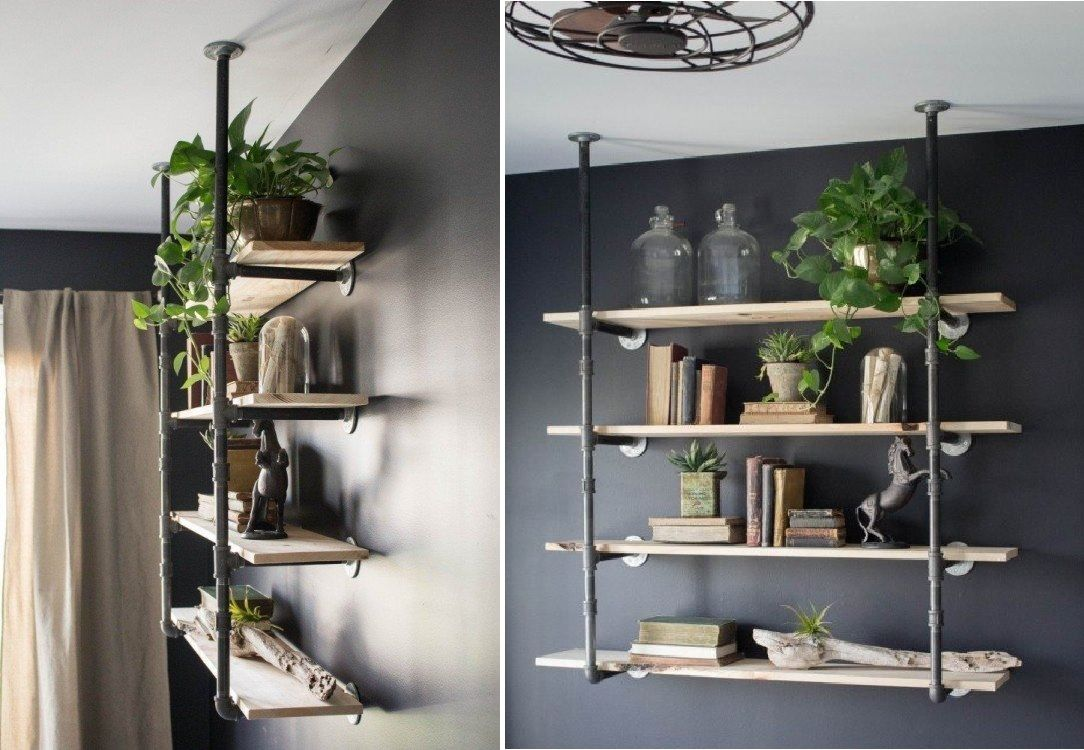 Build an industrial bookcase from pipes