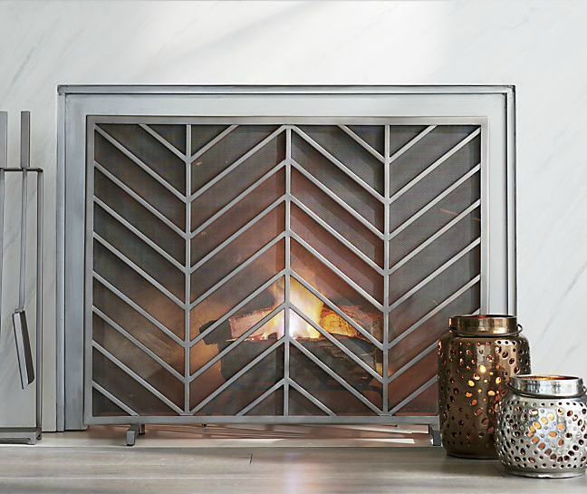 Chevron fireplace screen 10 Gorgeous Fireplace Screens for Every Home