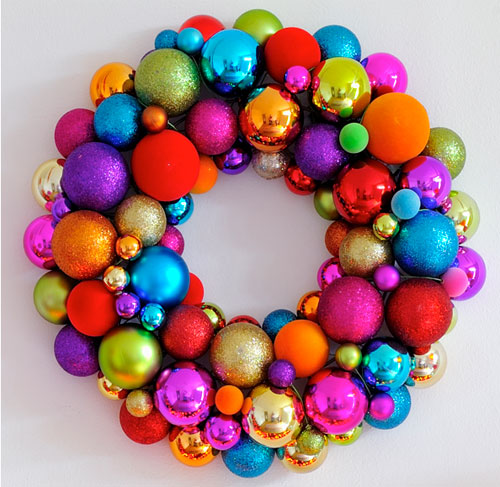 Christmas globes to create a wreath