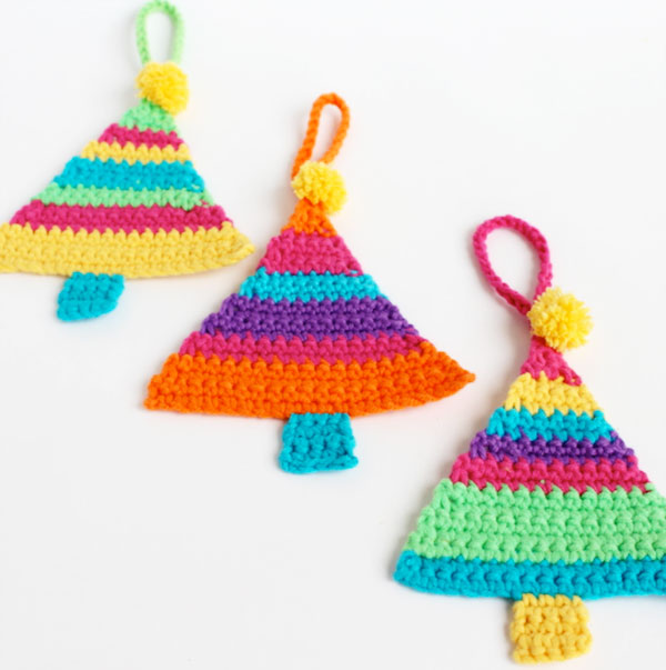 Christmas tree with colorful crochet ornaments