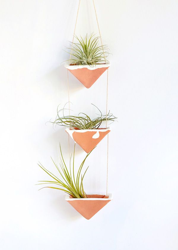 Clay hanging plants