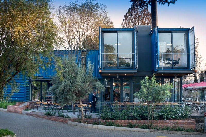 Coffee shop and showroom built with shipping containers - Street view