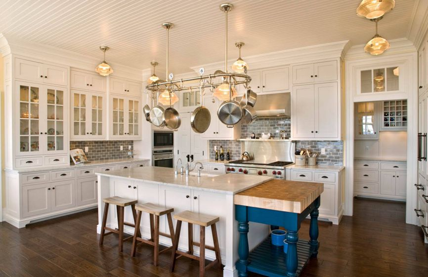 Colorful kitchen island extension
