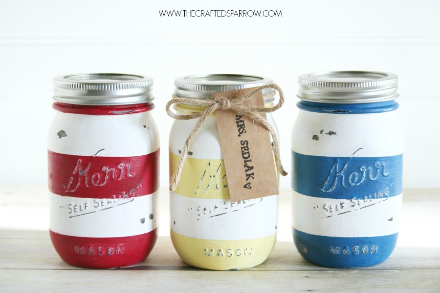 Colorful striped mason jars