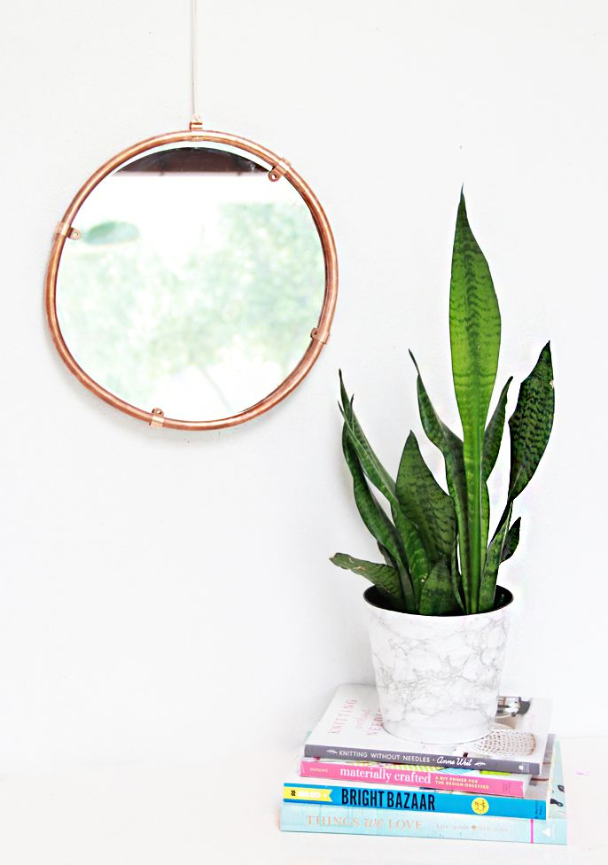 Copper edge round mirror