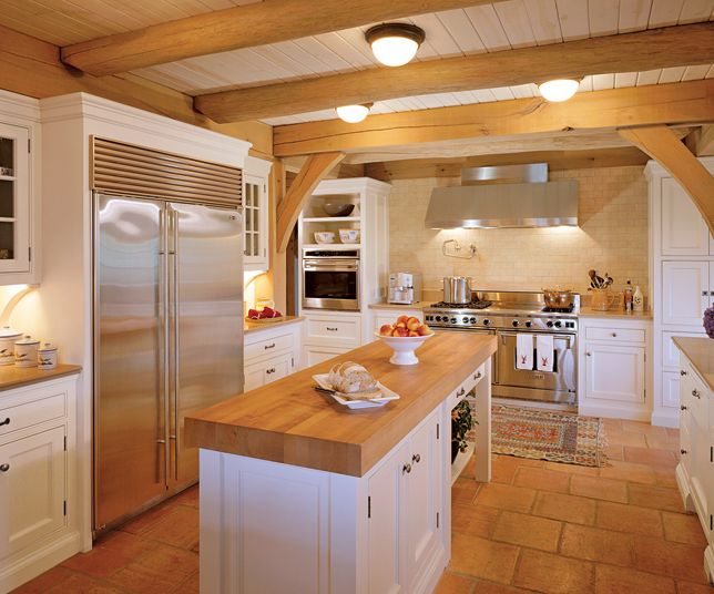 Country White Kitchens With Butcher Block Countertops