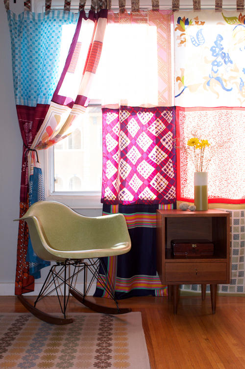 Create a curtain for window from different scarfs