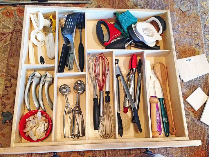 Custom wood kitchen drawer organization after