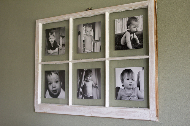 DIY Antique Window Picture Frame