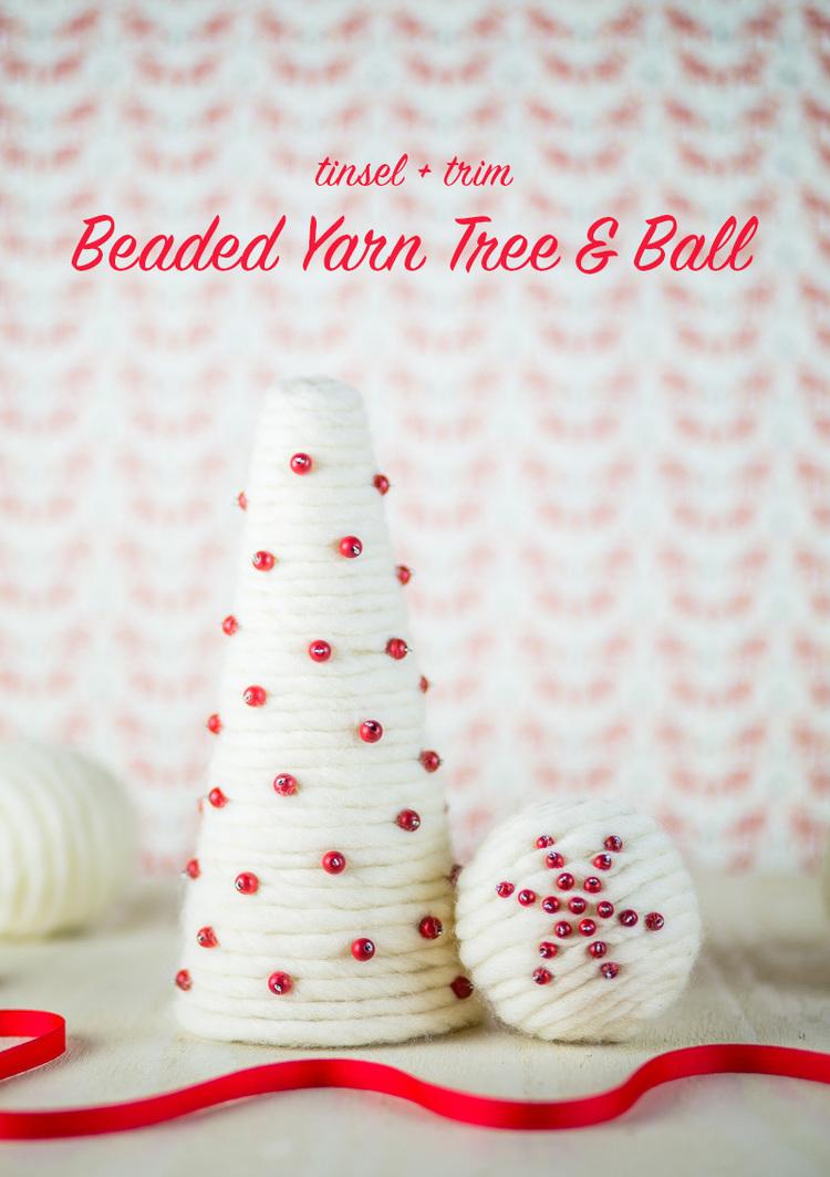 DIY Beaded Yarn Tree and Balls