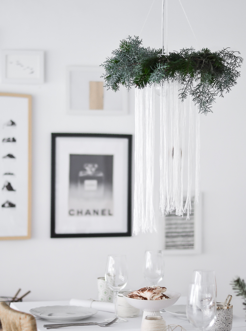 DIY Christmas Chandelier Over Table