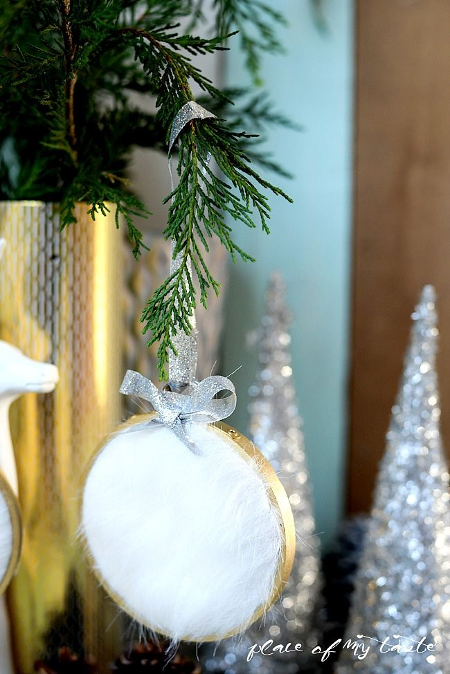DIY Faxu Fur Christmas Tree Ornaments