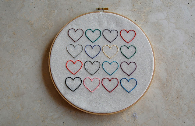 DIY Heart Embroidery Wall Hanging