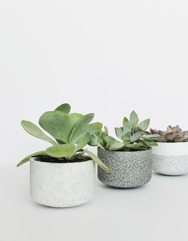 DIY Mini concrete granite pots