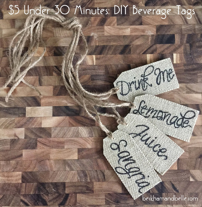 DIY beverage burlap tags