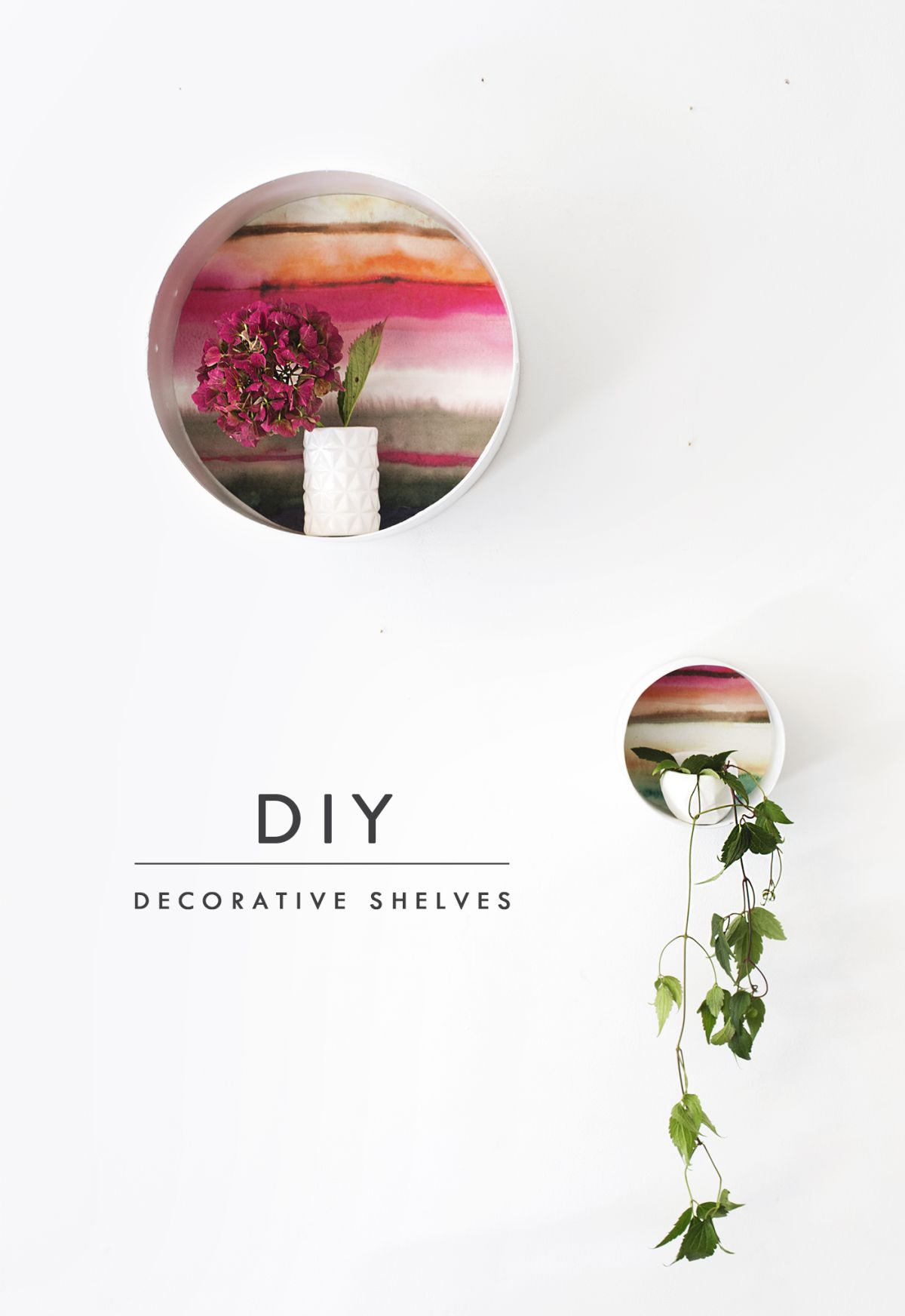 DIY decorative round shelves