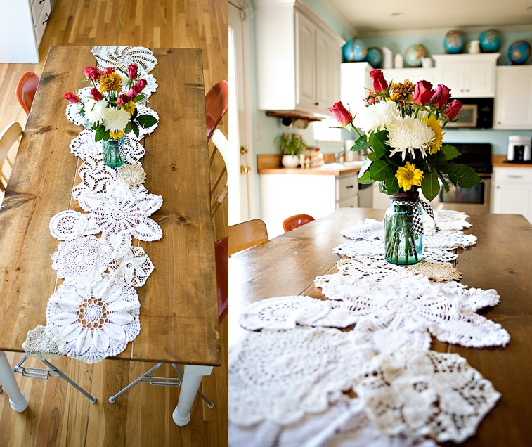 DIY doily table runner