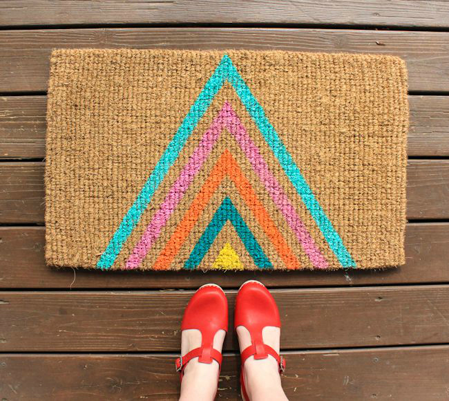 DIY geo welcome mat