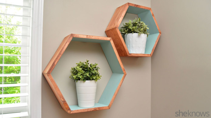 DIY geometric wall shelves