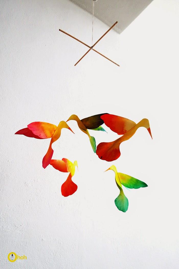 DIY hummingbirds paper mobile