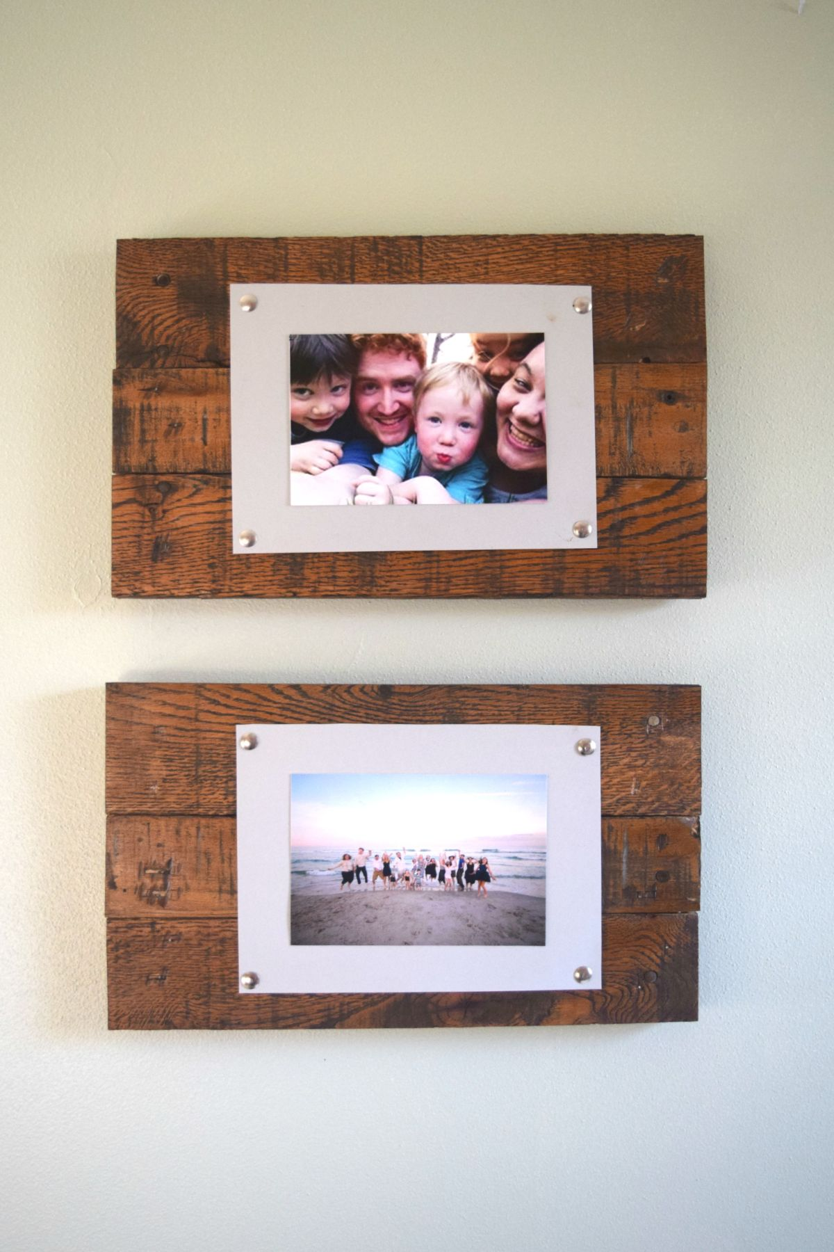 Diy rustic scrap wood picture frames spotlight favorite photos jeuxipadfo Choice Image