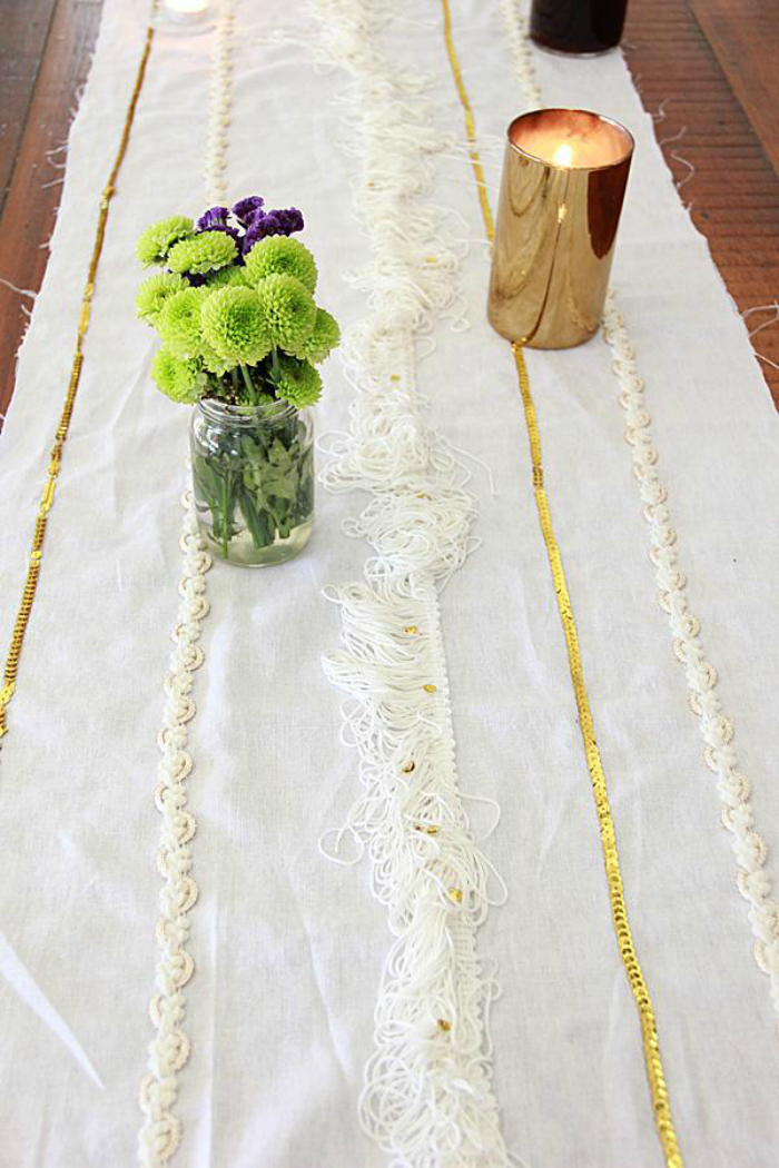 DIY wedding blanket runner