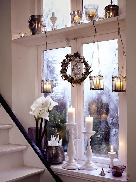 Decorate the window sill for Christmas & Add Cheer To Your Windows By Decorating Them For Christmas