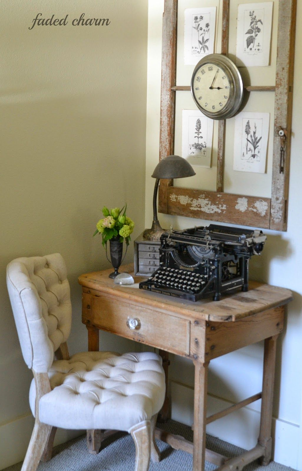 Desk charm with an old window frame