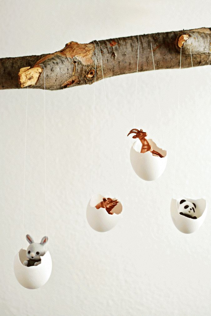 Easter eggshell mobile