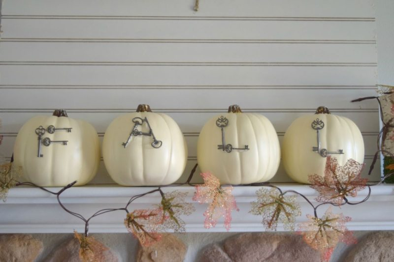Fall Fireplace Mantel Decor With White Pumpkins