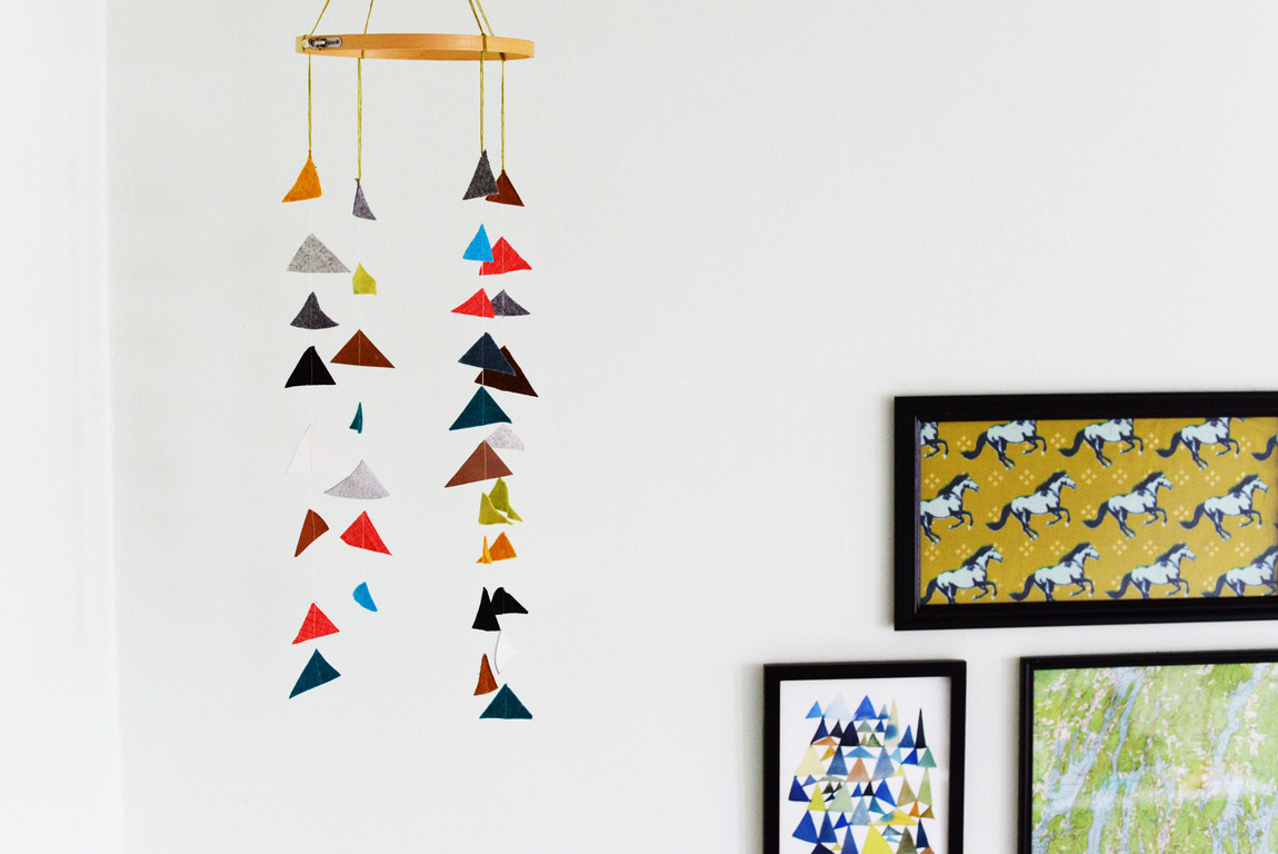 Felt and leather triangle mobile