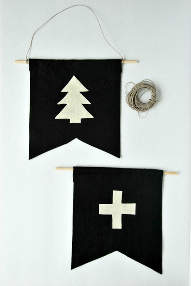 Felt pennants gallery wall