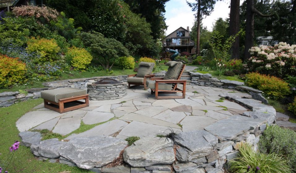 ... This is a contemporary patio featuring organic lines and materials - How To Set Up A Flagstone Patio Design