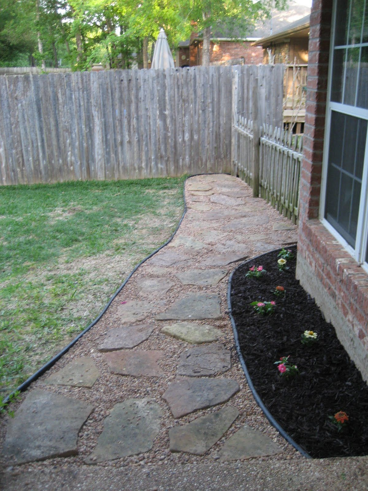Flagstone walkway in the backyard