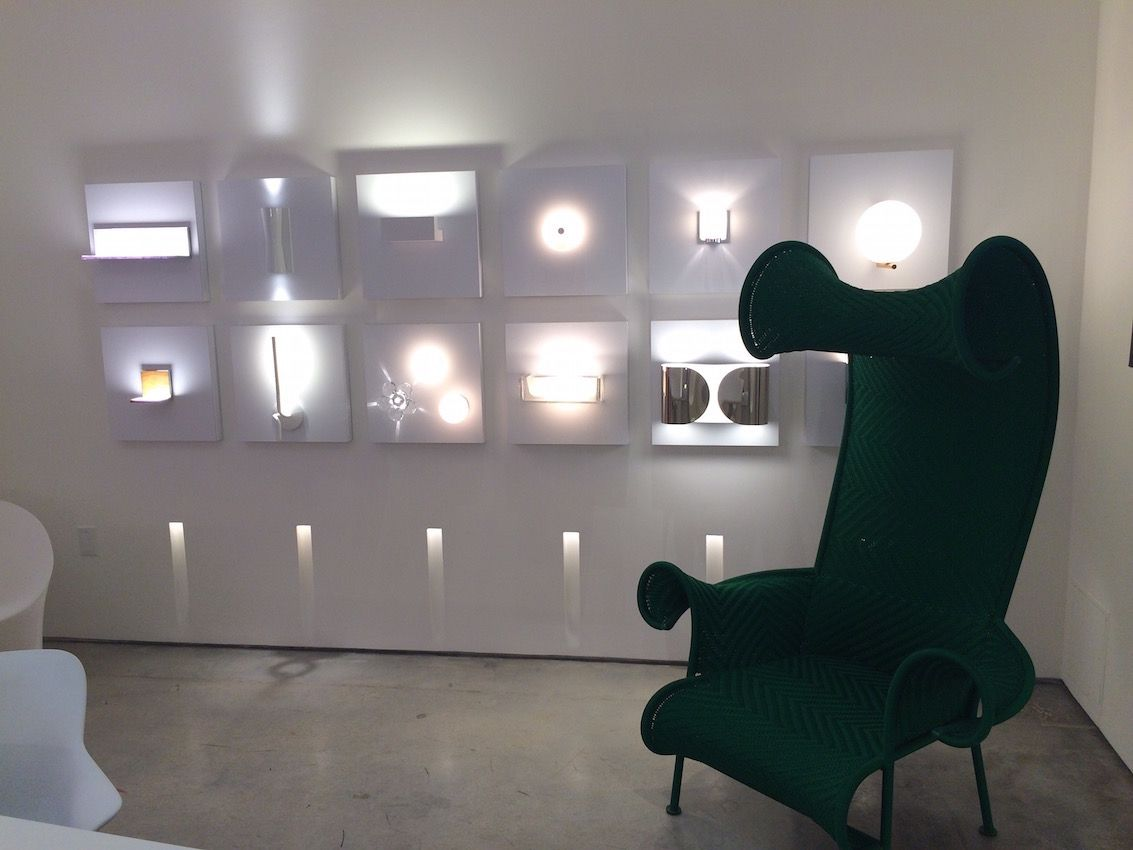 Sconce lighting options from FLOS are on display at the 4141 Design Gallery in the Miami Design District.